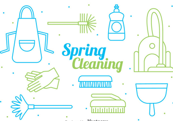 Spring Cleaning Line Style Vector - Free vector #386233