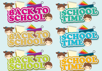 Back To School Shadow Titles - vector gratuit #386313