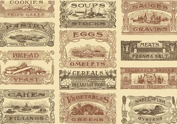 Vintage Recipe Headers - vector #386363 gratis