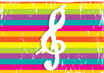 Violin Key On Colorful Background - vector gratuit #386413