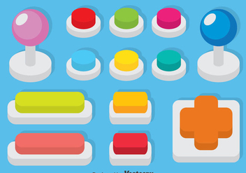 Arcade Button Set Vector - бесплатный vector #386433