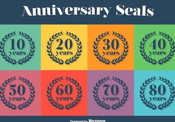 Anniversary Vector Icon Set - Free vector #386523