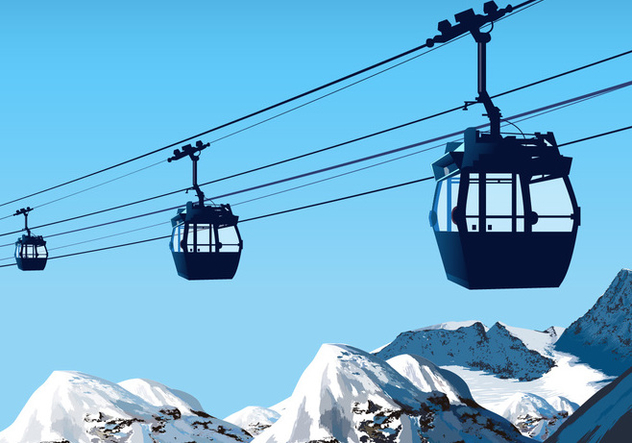 Cable Car over the Mountain Vector Scene - Free vector #386583