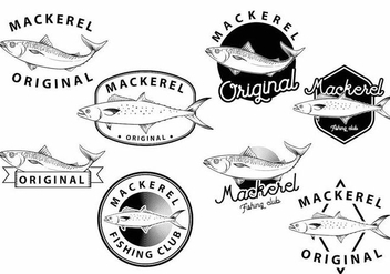 Mackerel Badge Set - vector gratuit #386593