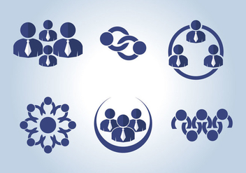 Working Together Icons Vector - vector gratuit #386633