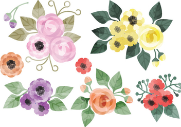 Vector Watercolor Floral Elements - бесплатный vector #386773