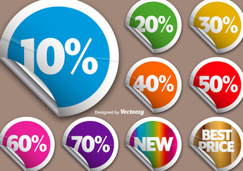 Vector Set Of Colorful Rounded Promotional Stickers - бесплатный vector #386833