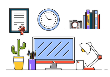 Office Desk Vector - Free vector #387123