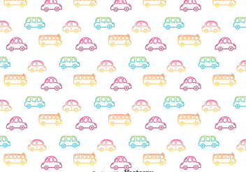 Colorful Hand Drawn Cars Pattern - vector gratuit #387133