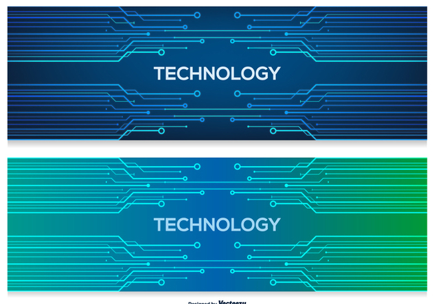 Technology Abstract Banners - vector gratuit #387613