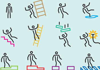 Cautions Stick Figure Signs - Free vector #387933