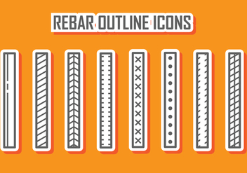 Rebar Outline Icons - vector #388073 gratis