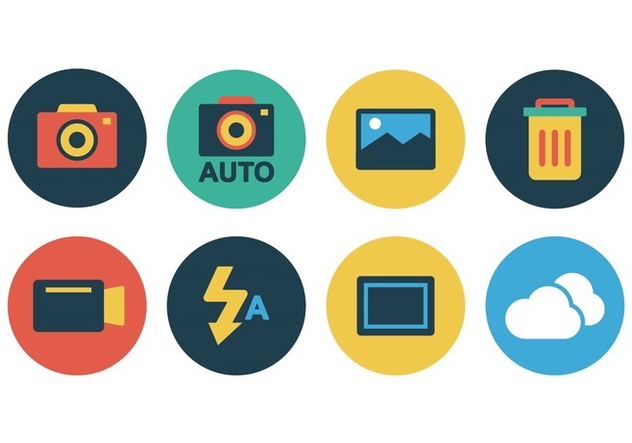 Free Flat Camera Icon Set - Free vector #388103
