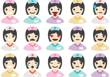 Nurse Emoticons - vector gratuit #388433
