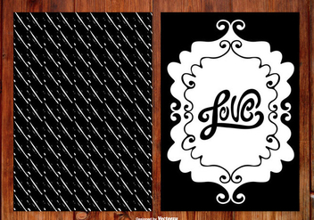 Black and White Hand Drawn Wedding Cards - vector gratuit #388783