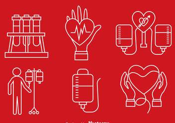 Blood Donation Line Icons - Free vector #388793