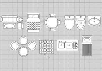 Floorplan Icons - vector #388813 gratis