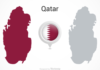 Free Vector Qatar Flag Map Pointer - Free vector #388873