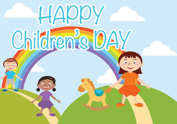 Happy Children Day Vector - vector gratuit #388933