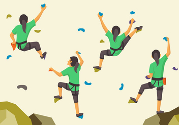 Woman sporty climbing wall pose - бесплатный vector #388943