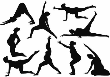 Free Silhouette Yoga Pregnant Mom Vector - Free vector #388983