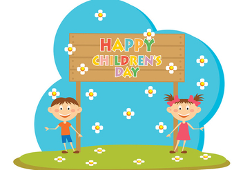 Happy Children Day Vector - бесплатный vector #389093