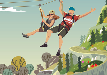 Riding On A Zipline - vector gratuit #389123