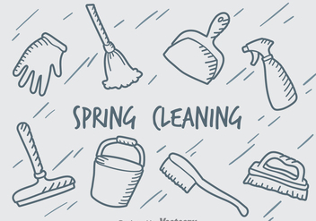Hand Drawn Spring Cleaning Vector Set - бесплатный vector #389193