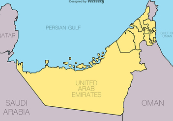 United Arab Emirates - Vector Map - vector gratuit #389623