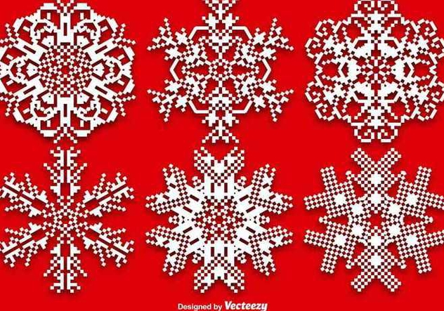 Vector Set Of Pixelated Snowflakes - Free vector #389633