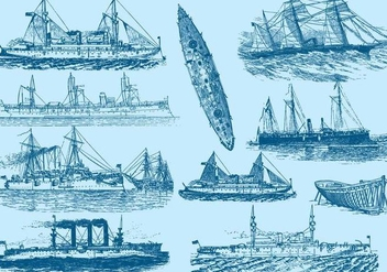 Vintage Boats And Ships - vector gratuit #389743