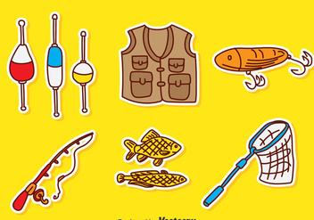 Hand Drawn Fishing Element Vector - Free vector #389753