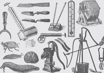 Garden And Farm Tools Set One - бесплатный vector #389773