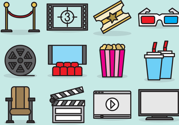 Cute Movie Theater Icons - vector #389883 gratis