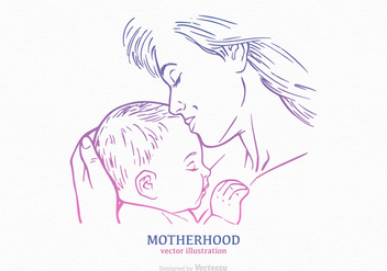 Free Mom And Child Vector Drawn Silhouette - Free vector #389973