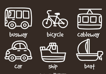 Transportation Hand Draw Icons - бесплатный vector #390163