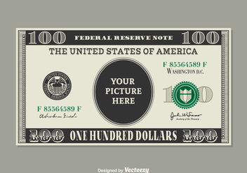 Free 100 Dollar Bill Vector Template - vector gratuit #390333