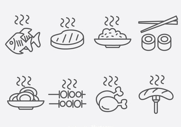 Outline Food Icons Vector - бесплатный vector #390403