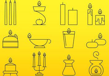 Candles Line Icons - vector gratuit #390413