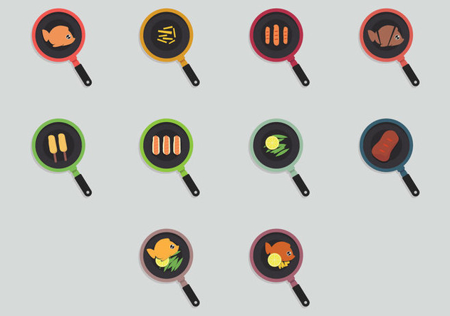 Fish Fry Icon Set - Free vector #390483