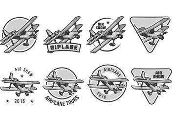 Free Biplane Badge Vector - бесплатный vector #390523