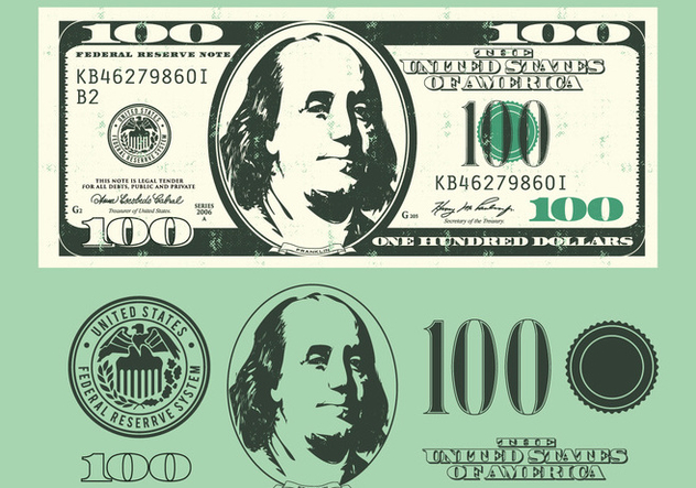 100 Dollar Bill Elements - vector gratuit #390563