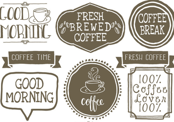 Cute Hand Drawn Style Coffee Lables - vector gratuit #390583