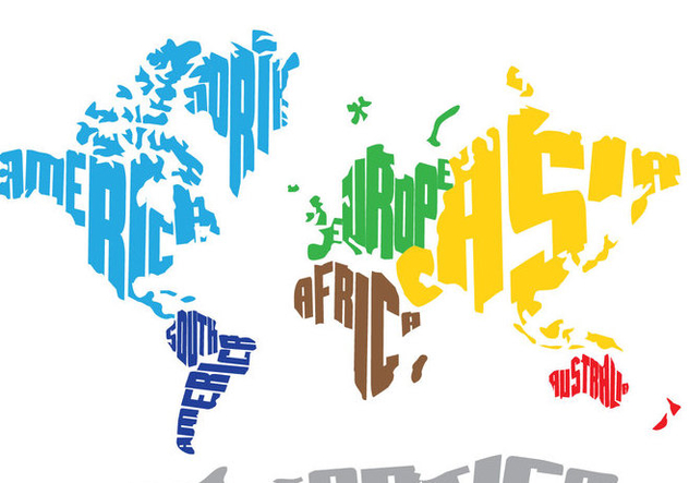 Bright World Word Map - Kostenloses vector #390603