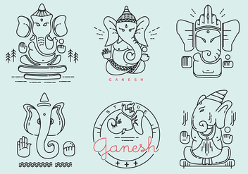 Ganesh Outlined Vector Pack - Free vector #390643