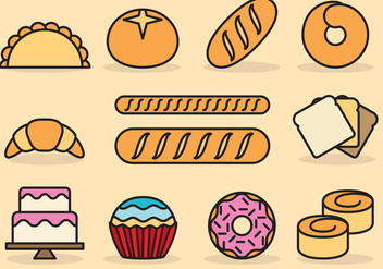 Cute Bread Icons - vector gratuit #390823