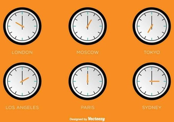 Time Zones Vector Clocks - Kostenloses vector #390913