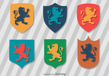 Flat Lion Rampant Vector Set - Free vector #390933