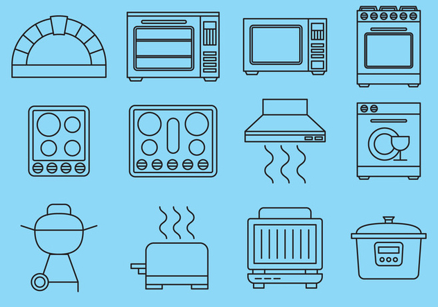 Line Kitchen Items Icons - Free vector #391053