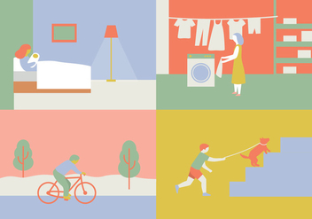Four Scenes Illustration - vector gratuit #391163